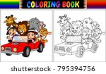 coloring book with funny kids... | Shutterstock .eps vector #795394756