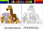 coloring book with cute african ... | Shutterstock .eps vector #795394762