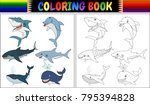 coloring book with sea animals...   Shutterstock .eps vector #795394828