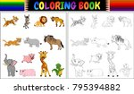 coloring book with wild animals ...   Shutterstock .eps vector #795394882