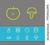 meal icons set with juice ...