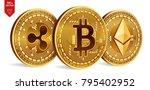 bitcoin. ripple. ethereum. 3d...   Shutterstock .eps vector #795402952