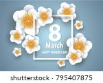 happy mother's day.floral... | Shutterstock .eps vector #795407875