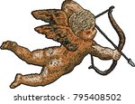 embroidery cupid with bow and... | Shutterstock .eps vector #795408502
