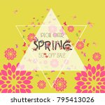 colorful graphic spring flowers.... | Shutterstock .eps vector #795413026