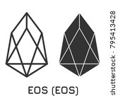 Vector illustration crypto coin icon on isolated white background EOS (EOS). Name of the crypto currency and the short trade name on the exchange. Digital currency