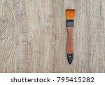 watercolor brush on wood... | Shutterstock . vector #795415282