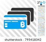 bitcoin banking cards icon with ... | Shutterstock .eps vector #795418342