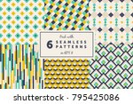 pack with 6 colored seamless... | Shutterstock .eps vector #795425086