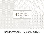 pack with 6 linear seamless... | Shutterstock .eps vector #795425368