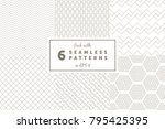pack with 6 linear seamless... | Shutterstock .eps vector #795425395