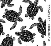 seamless vector patterns with... | Shutterstock .eps vector #795429322