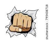 Fist Punch Ripping Out Of Paper