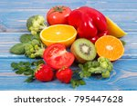 fresh ripe fruits and... | Shutterstock . vector #795447628