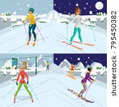 young women is skiing at a...   Shutterstock .eps vector #795450382