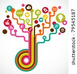 social network tree with media... | Shutterstock .eps vector #79545187