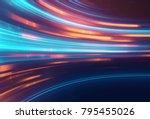 blue geometric abstract... | Shutterstock . vector #795455026