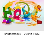 colorful traditional holi... | Shutterstock .eps vector #795457432