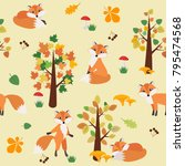seamless pattern with fox in... | Shutterstock .eps vector #795474568