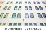wide angle of wall building... | Shutterstock . vector #795476638