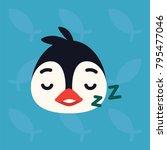 Penguin Emotional Head. Vector...
