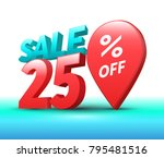 sale banner 3d style. vector... | Shutterstock .eps vector #795481516