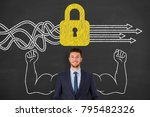 security concept on chalkboard | Shutterstock . vector #795482326