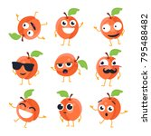 funny peach   vector isolated... | Shutterstock .eps vector #795488482