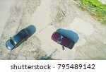 aerial view on robbers with... | Shutterstock . vector #795489142