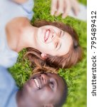 mixed race couple having fun... | Shutterstock . vector #795489412