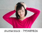 young woman in trouble | Shutterstock . vector #795489826