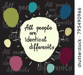 all people are identical... | Shutterstock .eps vector #795490966