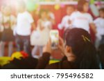 people take photos by mobile... | Shutterstock . vector #795496582