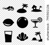 tropical icons. set of 9... | Shutterstock .eps vector #795501136