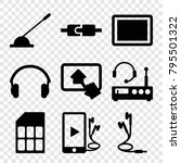 gadget icons. set of 9 editable ... | Shutterstock .eps vector #795501322