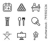 table icons. set of 9 editable... | Shutterstock .eps vector #795502126