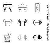 bodybuilding icons. set of 9... | Shutterstock .eps vector #795502156