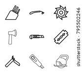 blade icons. set of 9 editable... | Shutterstock .eps vector #795502246