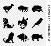 zoo icons. set of 9 editable... | Shutterstock .eps vector #795502915