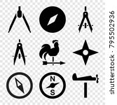 compass icons. set of 9... | Shutterstock .eps vector #795502936