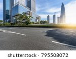 empty asphalt road with city... | Shutterstock . vector #795508072