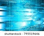 binary circuit board future... | Shutterstock .eps vector #795519646