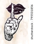human girl tattooed hand with... | Shutterstock .eps vector #795531856