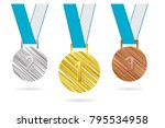 three medals for first  second... | Shutterstock .eps vector #795534958
