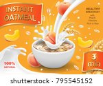 oatmeal instant flakes with... | Shutterstock .eps vector #795545152