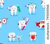 cute cartoon tooth character... | Shutterstock .eps vector #795545566
