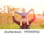 happy man and his child having... | Shutterstock . vector #795545932