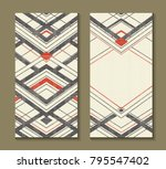 set of cards with art deco... | Shutterstock .eps vector #795547402