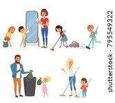 children helping their parents... | Shutterstock .eps vector #795549322