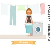 smiling woman standing near... | Shutterstock .eps vector #795549325